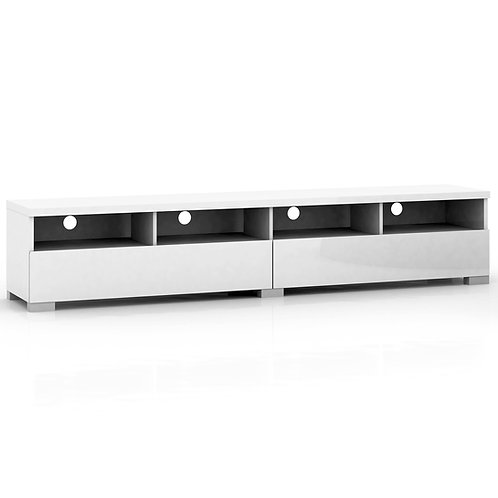 Elara High Gloss 4 Compartments 2 Drawers Entertainment Unit - White
