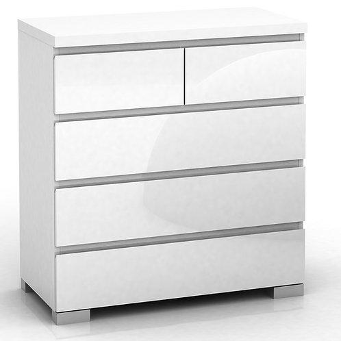 Elara 5 Drawer Chest High Gloss - White