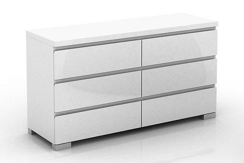 Elara 6 Drawer Chest High Gloss - White