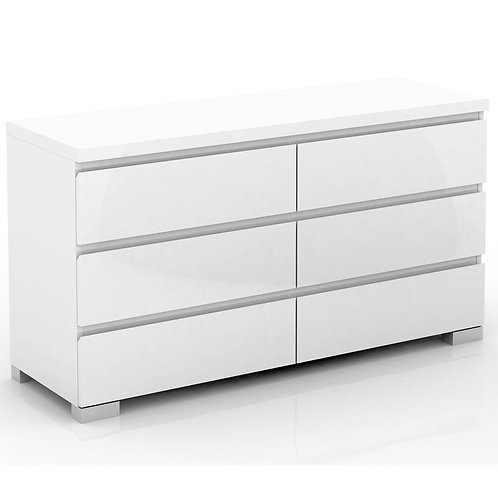 Elara 6 Drawer Chest High Gloss - White