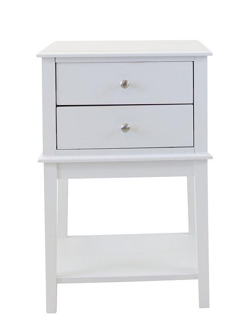 Chloe 2 Drawer Side Table - White