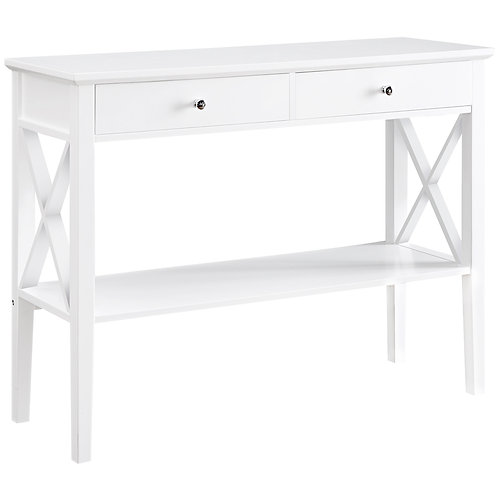Long Island 2 Drawer 1 Shelf Console Table - White