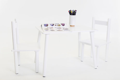 Kids Classic White 3pc Table & Chair Set