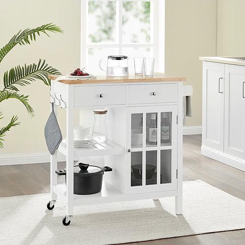 Montauk Kitchen Trolley 2 Drawer 1 Door - White