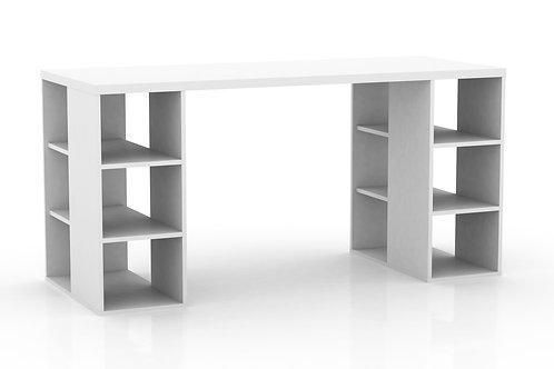 Bloc Desk with Storage Shelves - White