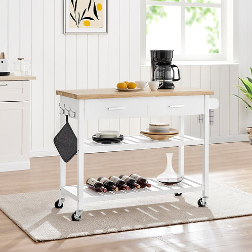 Kitchen Island Trolley With Open Shelves - White