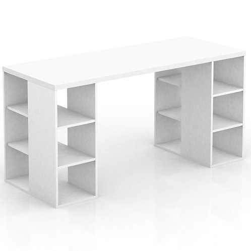 Bloc Desk with Storage Shelves - White