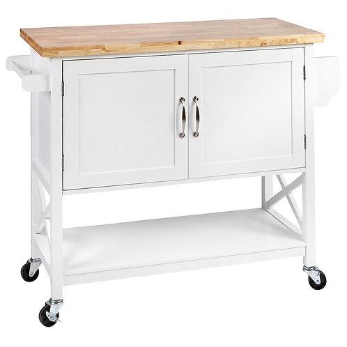 Kitchen 2 Door Island Solid wood Counter Top - Wht