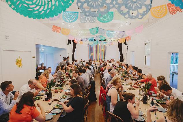 Hederal hall decorated for a Fiesta themed wedding