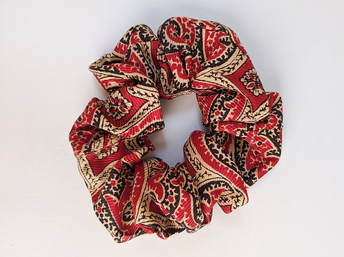 Vintage Red Silk Scrunchie