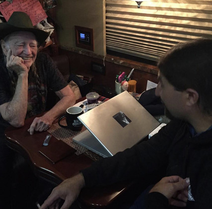 On the bus with Willie Nelson!