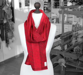 Bright red handwoven organic scarf made