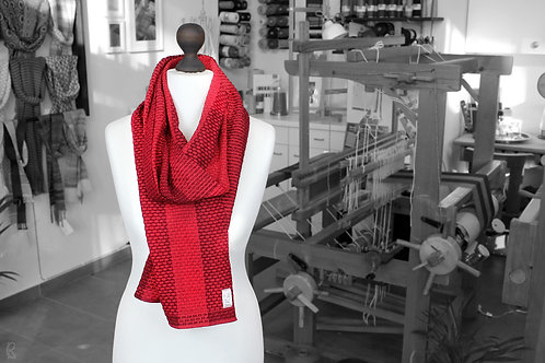 Bright red handwoven organic scarf made with organic cotton and organic linen
