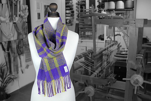 Purple and yellow organic cotton and linen handwoven scarf