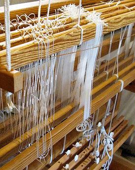 Hand-weaving process - traditional loom