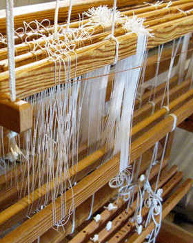 Hand-weaving process - traditional loom