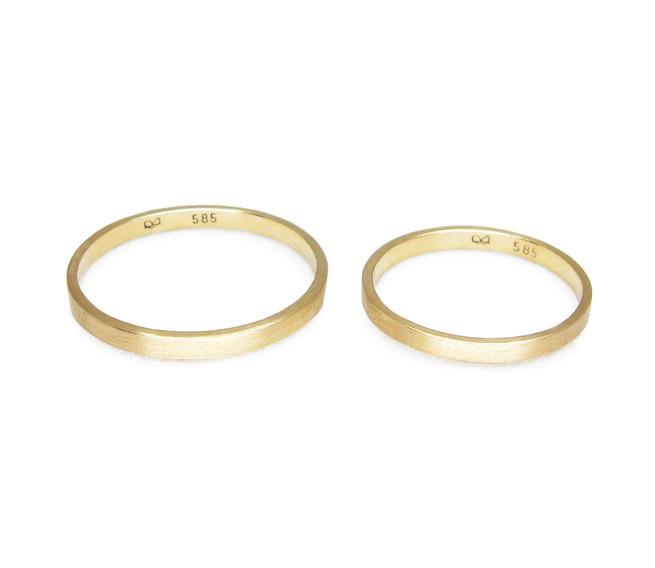 Minimalistische Eheringe aus Gelbgold