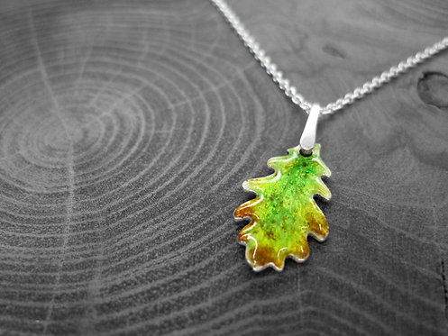 Spring Oak - Recycled Silver and Enamel Leaf Necklace