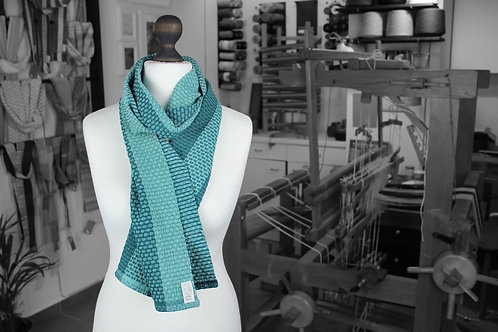 Teal handwoven organic scarf made with organic cotton and organic linen