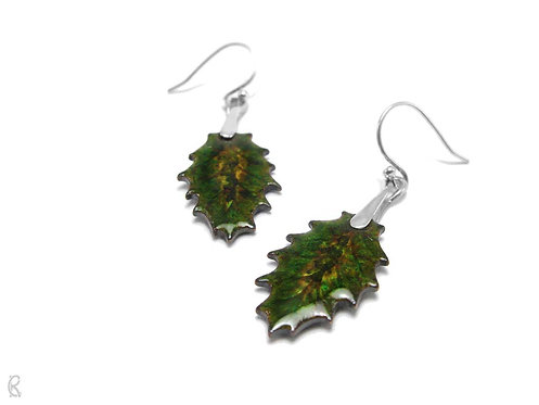 Autumn Holly » Silver and Enamel Earrings