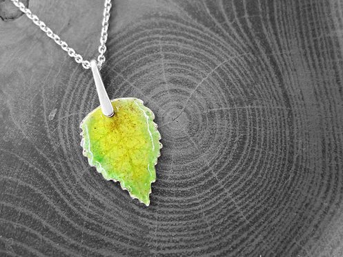 Spring Birch - Recycled Silver and Enamel Leaf Necklace