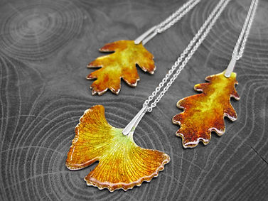 Autumn leaf necklaces - Handmade with re