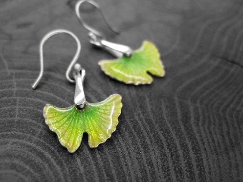 Spring Ginkgo - Recycled Silver and Enamel Leaf Earrings