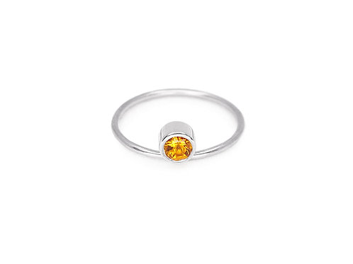 Equilibrium - recycled sterling silver and citrine ring - Art Deco minimalist ring