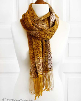 Cocoa an Cream - Hand-woven scarf made with organic cotton and linen