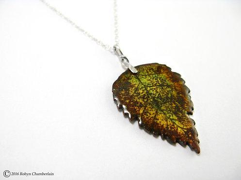 Herbstliche Birke » Emaille und Silber Halskette