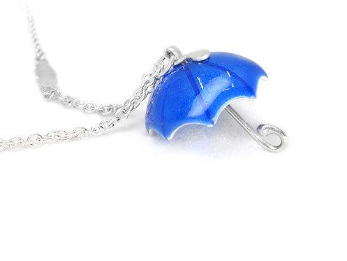 Bright blue silver and enamel umbrella necklace