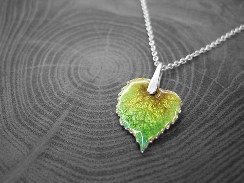 Spring Linden - Recycled Silver and Enamel Leaf Necklace