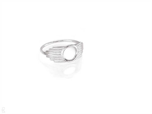 Minimalist recycled sterling silver ring side view