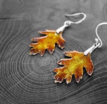 Autumn Hawthorn » Recycled Silver and Enamel Earrings