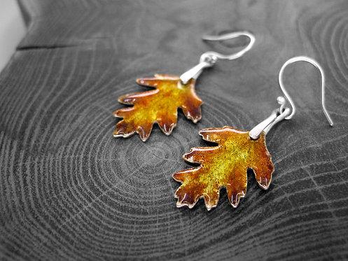 Autumn Hawthorn - Recycled Silver and Enamel Leaf Earrings.jpg