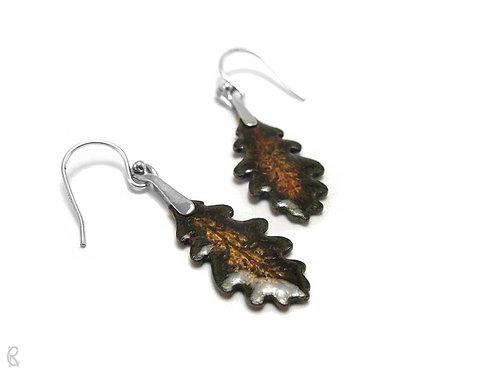 Autumn Oak » Silver and Enamel Earrings