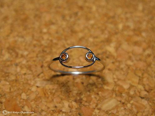 Eingekreister Citrin » Sterling-Silber und Citrin Ring