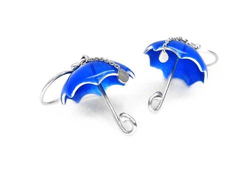 Blue silver and enamel umbrella earrings