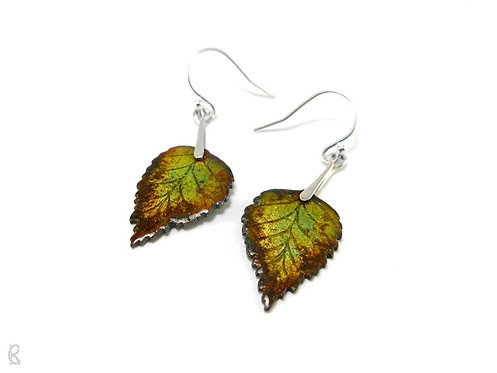 Autumn Birch » Silver and Enamel Earrings