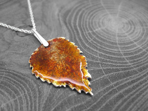 Autumn Birch - Recycled Silver and Enamel Leaf Necklace