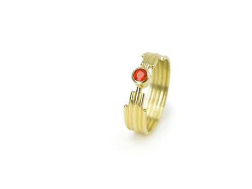 Sanctuary » 18k yellow gold and fairtrade mexican fire opal Art Deco minimalist ring
