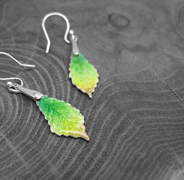 Spring Chestnut » Recycled Silver and Enamel Earrings