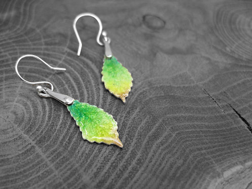 Spring Chestnut - Recycled Silver and Enamel Leaf Earrings