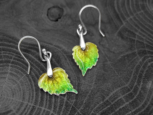 Spring Linden - Recycled Silver and Enamel Leaf Earrings
