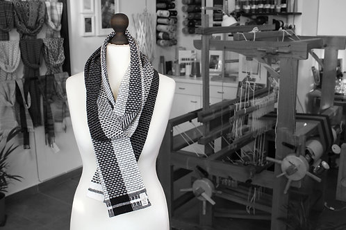 Black and white plaid handwoven organic scarf made with organic cotton and organic linen