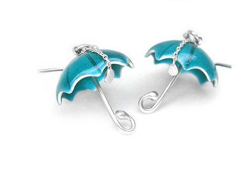 Teal silver and enamel umbrella earrings