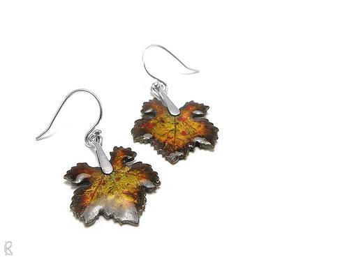 Autumn Vine » Silver and Enamel Earrings