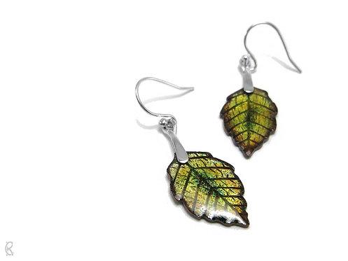 Autumn Alder » Silver and Enamel Earrings