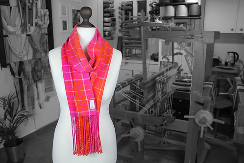 Pink, orange and white handwoven organic tartan scarf made with organic cotton