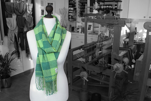 Green plaid handwoven organic scarf made with organic cotton and organic linen